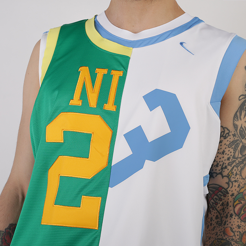 мужскую белую, зеленую  майку nike nikelab collection basketball jersey AR5863-100 - цена, описание, фото 2