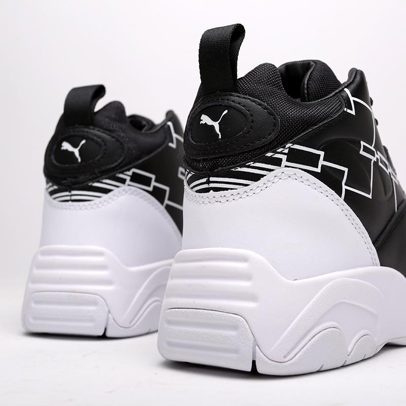 мужские чёрные, белые  кроссовки puma source mid bracket 37022301 - цена, описание, фото 5