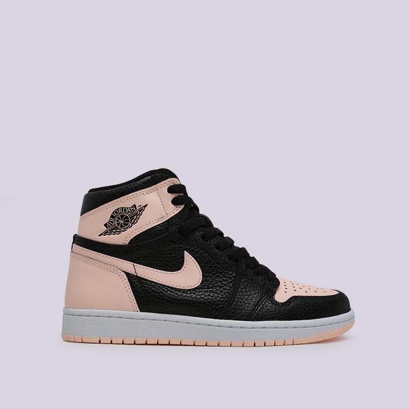 0b628812f1173e мужские чёрные, розовые кроссовки jordan 1 retro high og 555088-081 - цена,