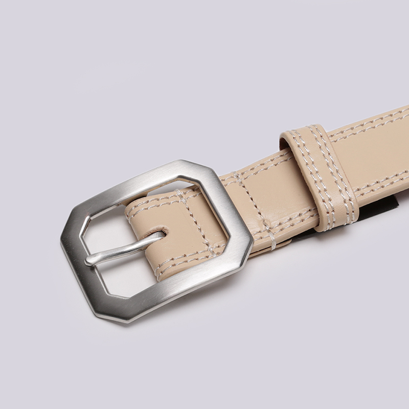 бежевый  ремень stussy contrast stitch leather belt 135154-tan - цена, описание, фото 2