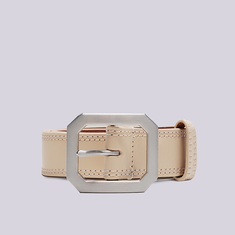 бежевый  ремень stussy contrast stitch leather belt 135154-tan - цена, описание, фото 1
