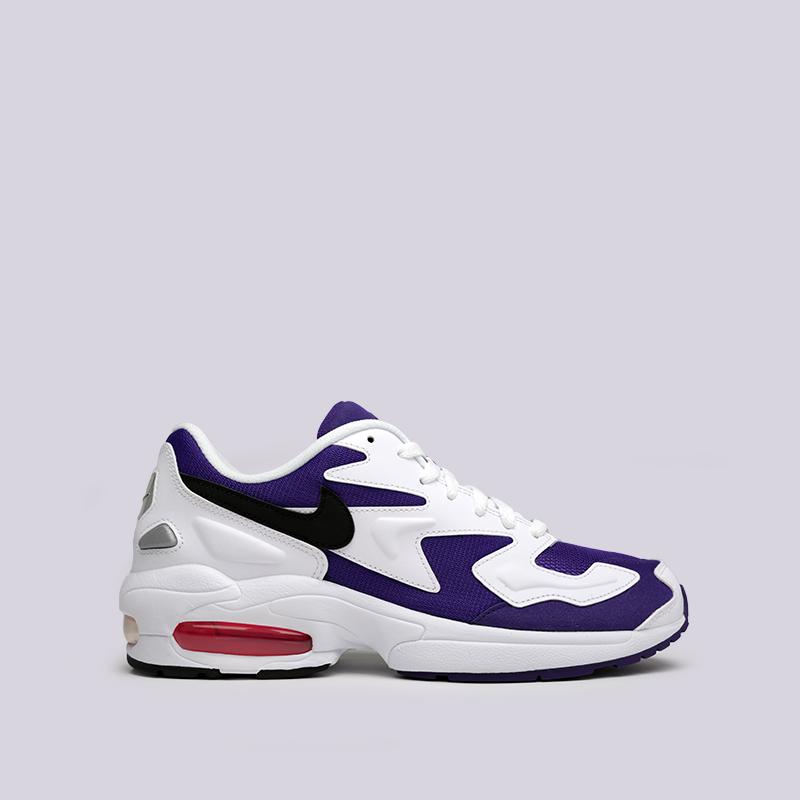 мужские белые, фиолетовые  кроссовки nike air max2 light AO1741-103 - цена, описание, фото 1