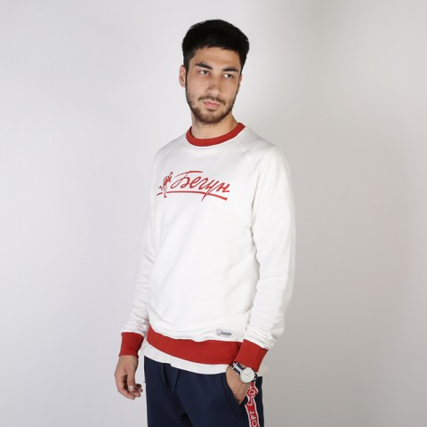 мужскую бежевую  толстовка запорожец heritage hoodies runner crewneck Runner-белый - цена, описание, фото 2
