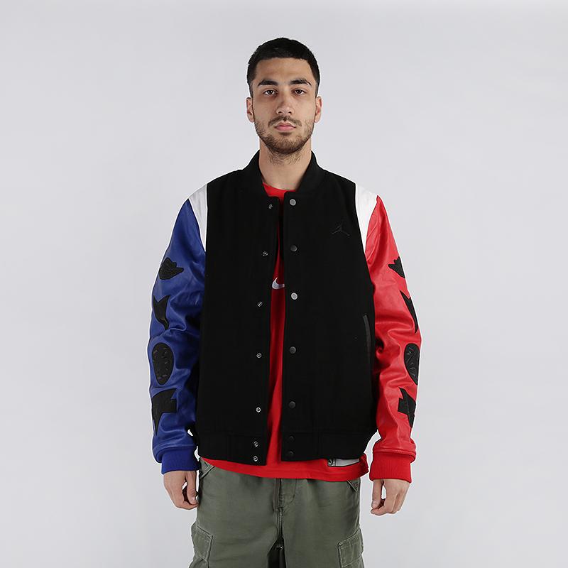 мужскую чёрную  куртку jordan dna varsity jacket AT9958-010 - цена, описание, фото 1