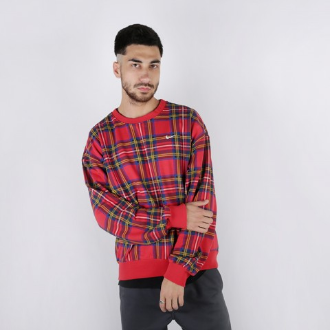 Толстовка Nike NRG Crew Swoosh Stripe Plaid