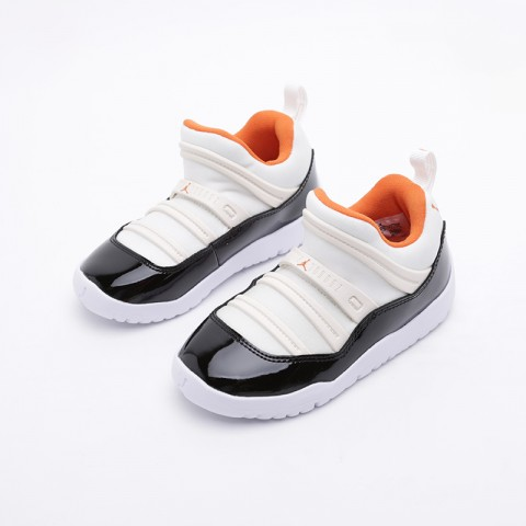 детские бежевые, чёрные  кроссовки jordan 11 retro little flex ps BQ7101-108 - цена, описание, фото 2