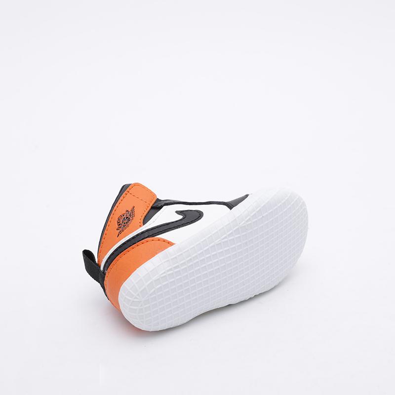 детские чёрные, оранжевые, белые  кроссовки jordan 1 crib bootie AT3745-108 - цена, описание, фото 4