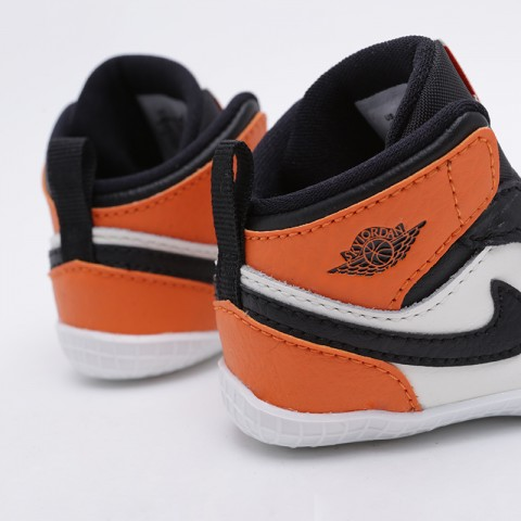 детские чёрные, оранжевые, белые  кроссовки jordan 1 crib bootie AT3745-108 - цена, описание, фото 5