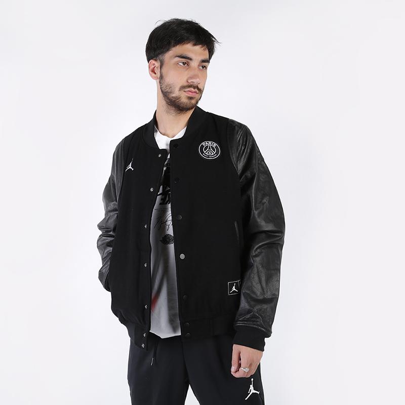 мужскую чёрную  куртку jordan psg varsity jacket BQ8363-010 - цена, описание, фото 1