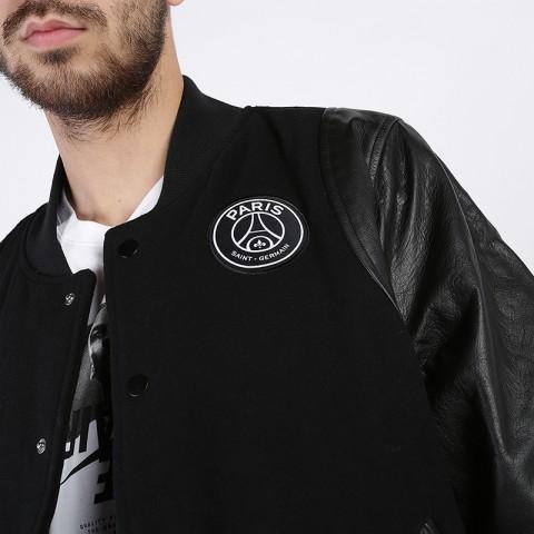 мужскую чёрную  куртку jordan psg varsity jacket BQ8363-010 - цена, описание, фото 4