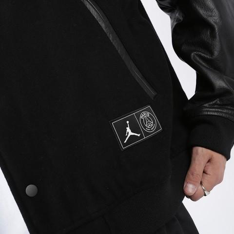 мужскую чёрную  куртку jordan psg varsity jacket BQ8363-010 - цена, описание, фото 5