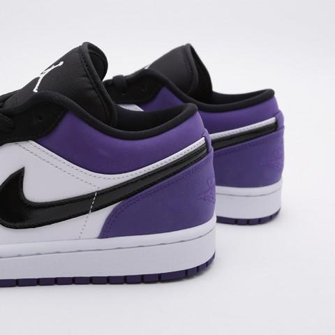 мужские белые, чёрные, фиолетовые  кроссовки jordan 1 low 553558-125 - цена, описание, фото 6