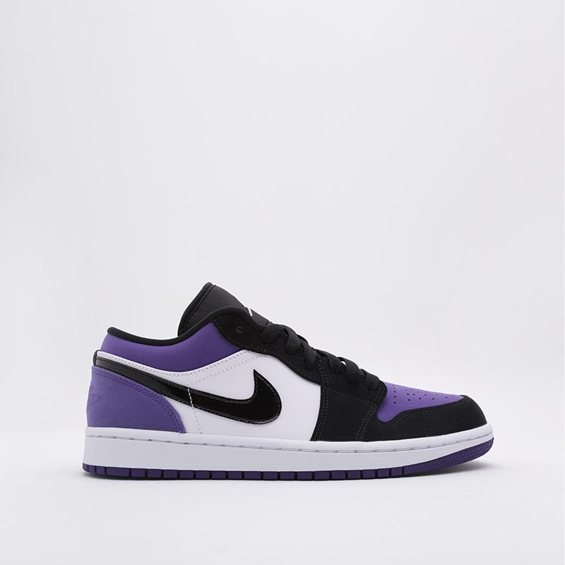 мужские белые, чёрные, фиолетовые  кроссовки jordan 1 low 553558-125 - цена, описание, фото 1