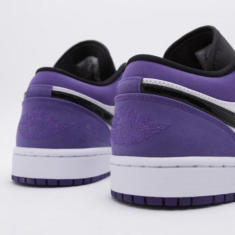 мужские белые, чёрные, фиолетовые  кроссовки jordan 1 low 553558-125 - цена, описание, фото 7