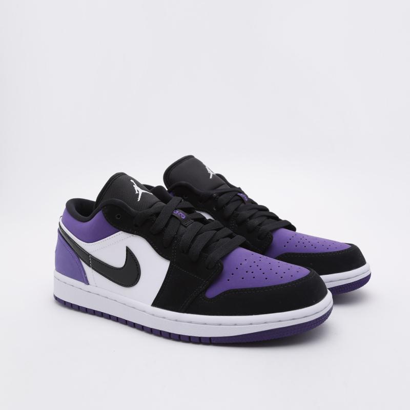 мужские белые, чёрные, фиолетовые  кроссовки jordan 1 low 553558-125 - цена, описание, фото 3