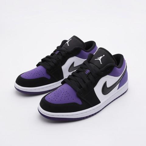 мужские белые, чёрные, фиолетовые  кроссовки jordan 1 low 553558-125 - цена, описание, фото 4