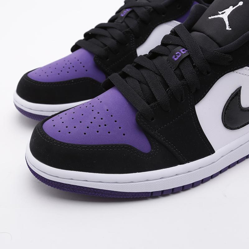 мужские белые, чёрные, фиолетовые  кроссовки jordan 1 low 553558-125 - цена, описание, фото 5