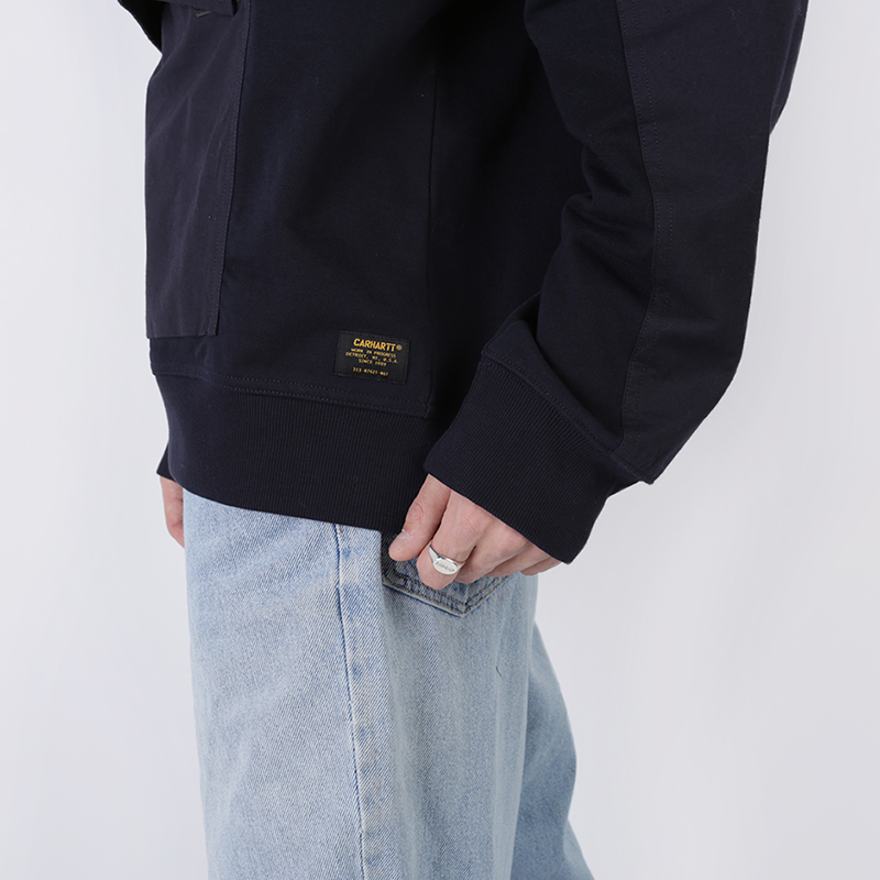 мужскую синюю  толстовка carhartt wip hooded klicks sweat i027007-dnavy - цена, описание, фото 5