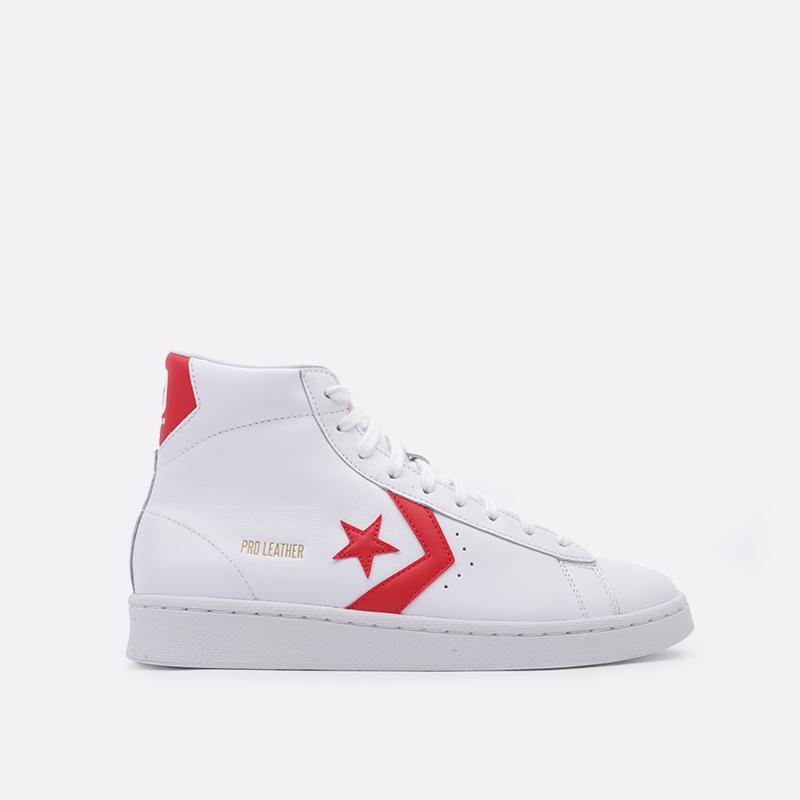 белые  кроссовки converse pro leather mid 168131 - цена, описание, фото 1