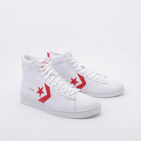 белые  кроссовки converse pro leather mid 168131 - цена, описание, фото 2