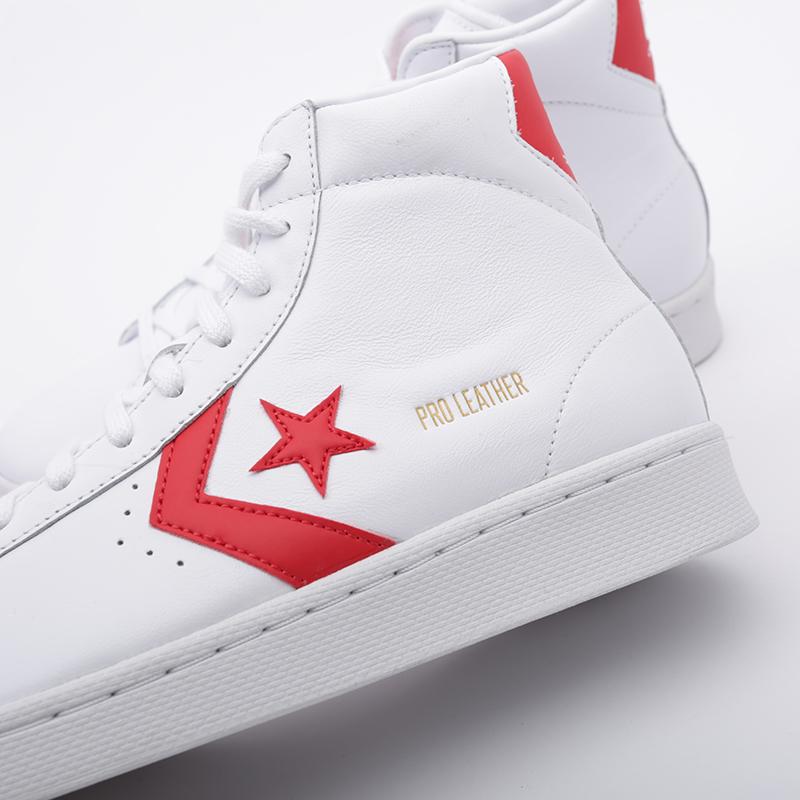 белые  кроссовки converse pro leather mid 168131 - цена, описание, фото 6