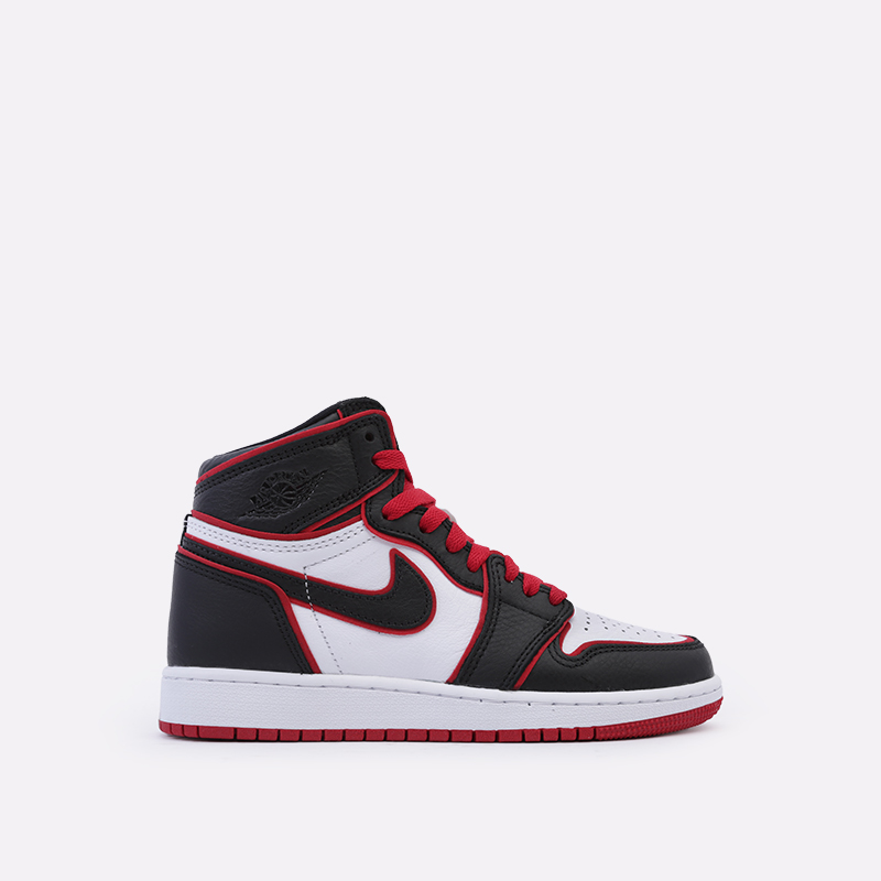 женские чёрные, красные, белые  кроссовки jordan 1 retro high og gs 575441-062 - цена, описание, фото 1