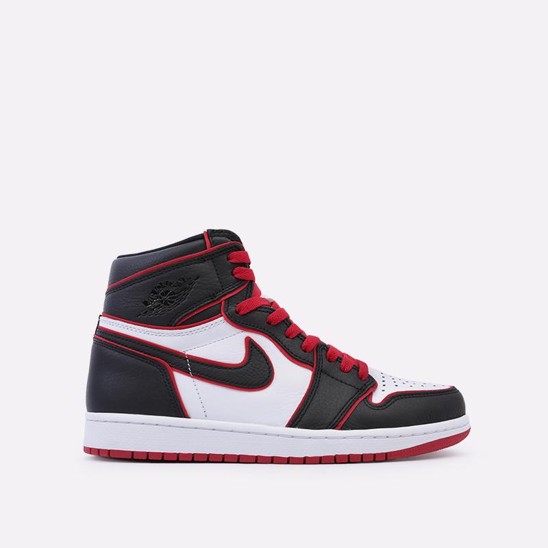 мужские чёрные, красные, белые  кроссовки jordan 1 retro high og 555088-062 - цена, описание, фото 1