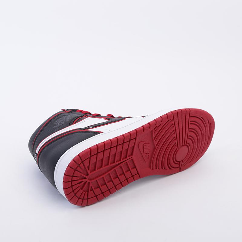 мужские чёрные, красные, белые  кроссовки jordan 1 retro high og 555088-062 - цена, описание, фото 4