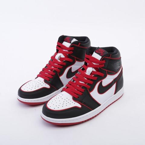 мужские чёрные, красные, белые  кроссовки jordan 1 retro high og 555088-062 - цена, описание, фото 5