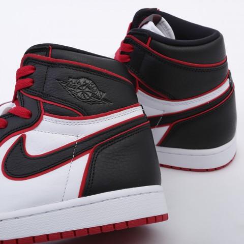 мужские чёрные, красные, белые  кроссовки jordan 1 retro high og 555088-062 - цена, описание, фото 6