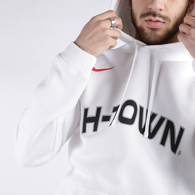 мужскую белую  толстовка nike houston rockets city edition logo hoodie CD3232-100 - цена, описание, фото 2