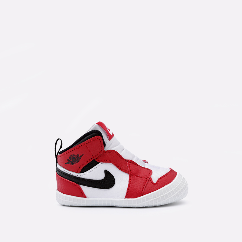 детские красные, белые  кроссовки jordan 1 crib bootie AT3745-163 - цена, описание, фото 1