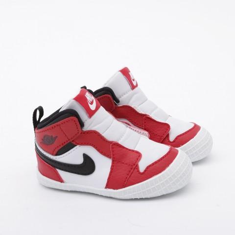 детские красные, белые  кроссовки jordan 1 crib bootie AT3745-163 - цена, описание, фото 3
