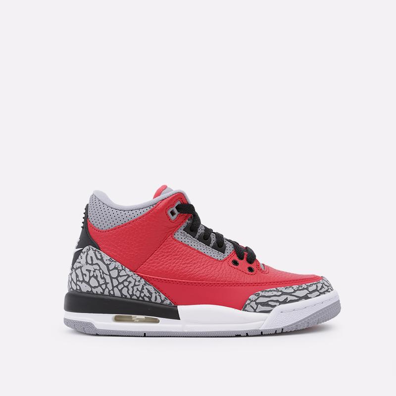 женские красные  кроссовки jordan 3 retro se (gs) CQ0488-600 - цена, описание, фото 1