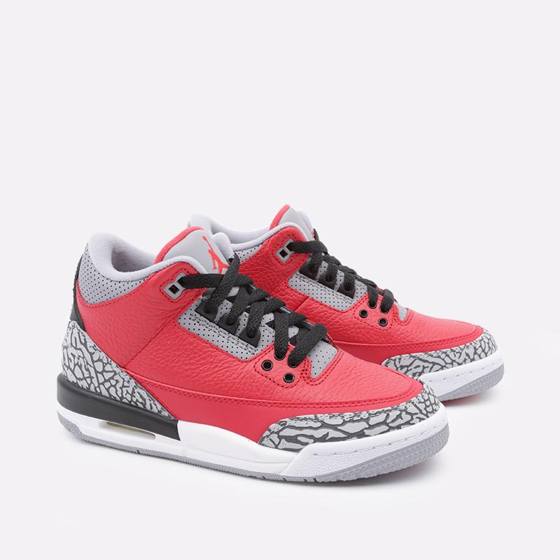 женские красные  кроссовки jordan 3 retro se (gs) CQ0488-600 - цена, описание, фото 3