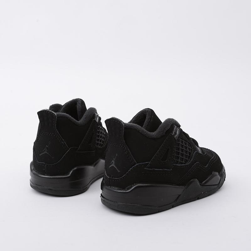 детские чёрные  кроссовки jordan 4 retro (td) BQ7670-010 - цена, описание, фото 4