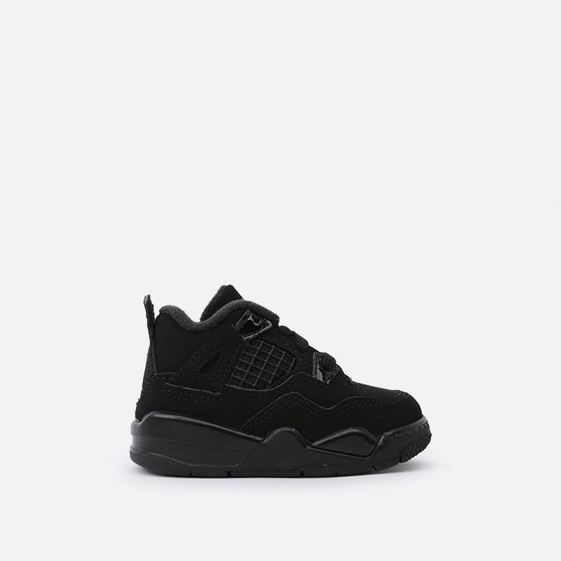 детские чёрные  кроссовки jordan 4 retro (td) BQ7670-010 - цена, описание, фото 1