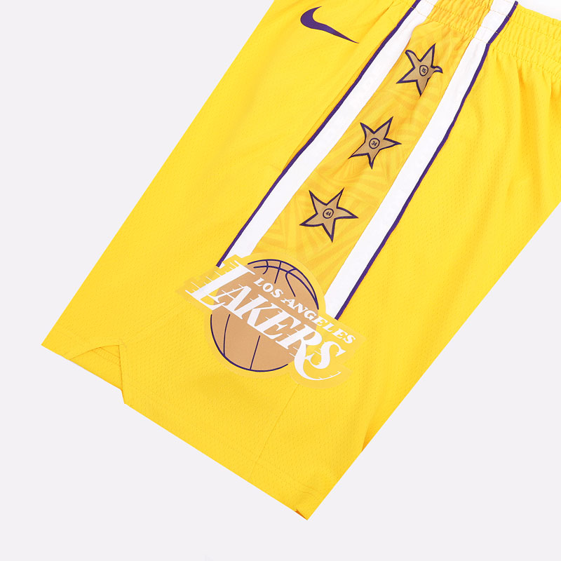 мужские желтые  шорты nike lakers city edition nba swingman shorts BV5873-728 - цена, описание, фото 2