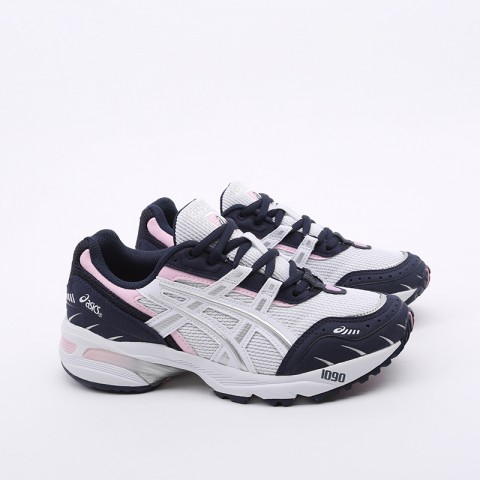 женские белые, синие  кроссовки asics gel-1090 1022A289-100 - цена, описание, фото 2