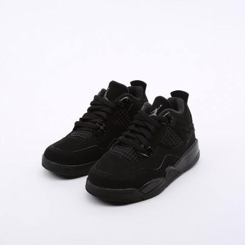 детские чёрные  кроссовки jordan 4 retro (ps) BQ7669-010 - цена, описание, фото 5