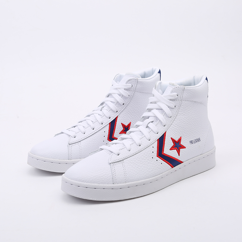 белые  кеды converse pro leather mid 167058 - цена, описание, фото 5