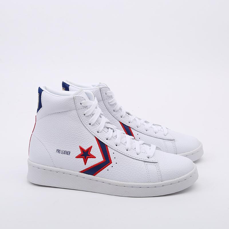 белые  кеды converse pro leather mid 167058 - цена, описание, фото 3