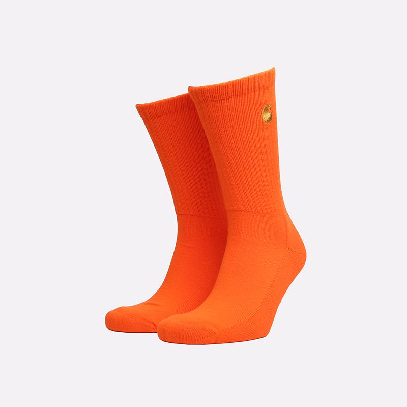 мужские оранжевые  носки carhartt wip chase socks i026527-clockwork/gold - цена, описание, фото 1