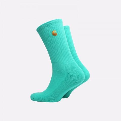 мужские бирюзовые  носки carhartt wip chase socks i026527-yoda/gold - цена, описание, фото 2