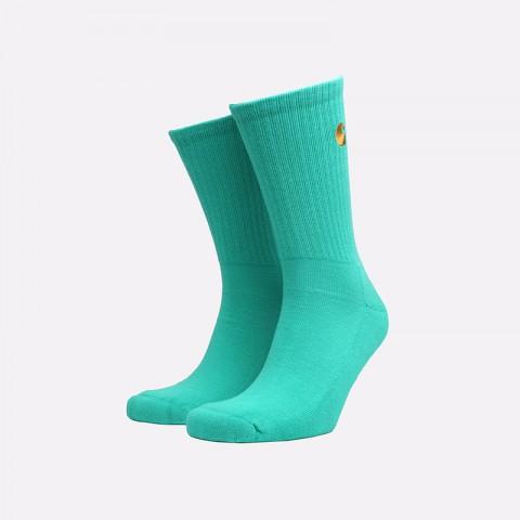мужские бирюзовые  носки carhartt wip chase socks i026527-yoda/gold - цена, описание, фото 1