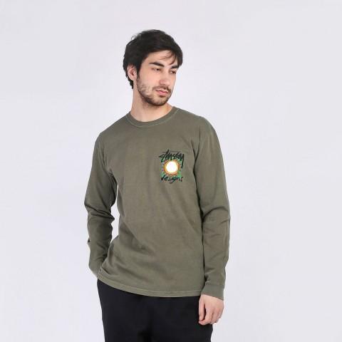 мужской зеленый  лонгслив stussy high desert pigment dyed ls tee 1994531-olive - цена, описание, фото 3