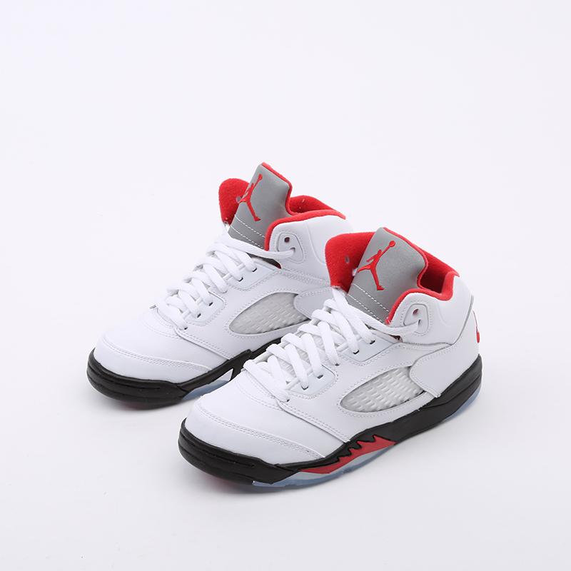детские белые  кроссовки jordan 5 retro (ps) 440889-102 - цена, описание, фото 5
