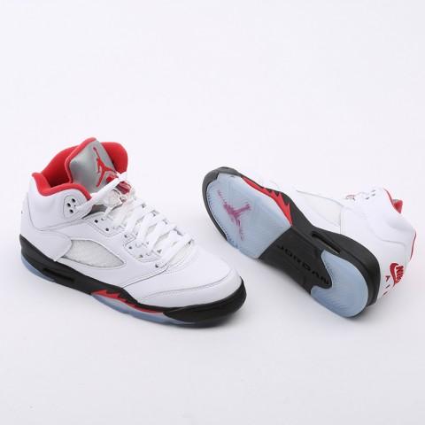 женские белые  кроссовки jordan 5 retro (gs) 440888-102 - цена, описание, фото 5