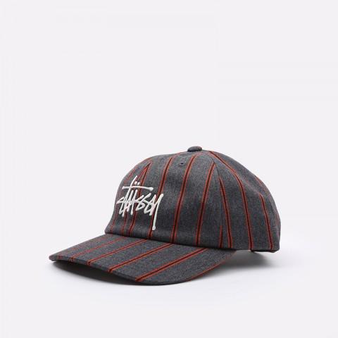 серую  кепка stussy big logo striped cap 131926-charcoal - цена, описание, фото 1