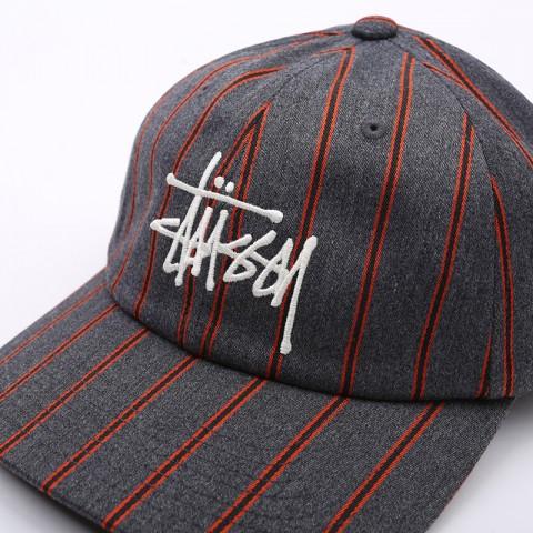 серую  кепка stussy big logo striped cap 131926-charcoal - цена, описание, фото 3